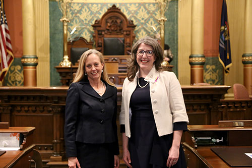 State Rep. Rachel Hood (D-Grand Rapids) joined by League of Conservation Voters Executive Director Lisa Wozniak for Gov. Whitmer's first State of the State address in the Capitol in Lansing on Tuesday, Feb. 12, 2019