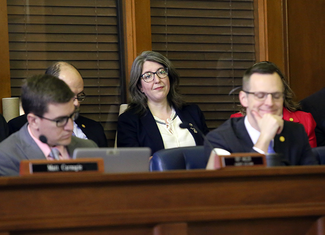 State Rep. Rachel Hood (D-Grand Rapids) listens as Governor Whitmer discusses the 2019 budget during a joint session of the House and Senate Appropriations Committees on Tuesday, March 5, 2019.