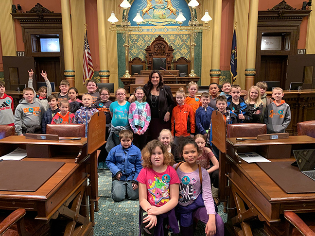 State Rep. Angela Witwer (D-Delta Township) welcomed students from Charlotte Upper Elementary to the House floor during their tour of the Capitol on Friday, March 8, 2019.