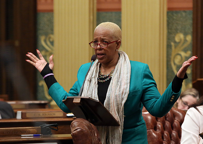 State Rep. Cynthia A. Johnson (D-Detroit) speaks against the House Bill 4397 on Thursday, May 9, 2019. With no hearings or public input, Republicans rushed the bill through in the middle of the night, providing a giveaway to insurance companies in the form of loopholes to avoid guaranteed lower rates or an end to discriminatory rate setting practices. Michigan's auto insurance industry is one of the least regulated in the U.S. with Michigan drivers paying nearly two times more than drivers anywhere else in the nation, according to a University of Michigan study.