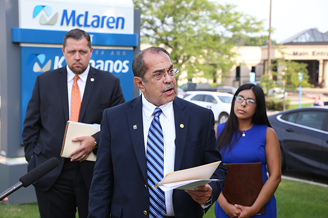 State Rep. Tim Sneller (D-Burton) joined State Reps. Brian Elder (D-Bay City) and Vanessa Guerra (D-Saginaw) to announce a Democratic plan to stop prescription drug price spikes in Michigan, at a press conference in Flint on Monday, Aug. 21, 2017.