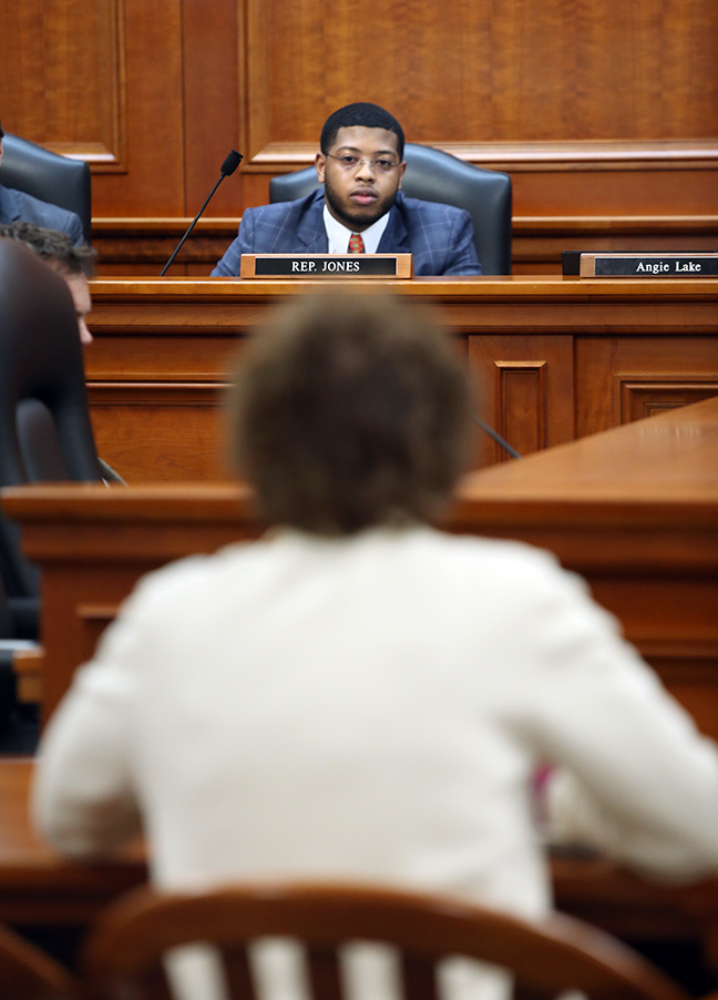 Minority Vice Chair State Rep. Jewell Jones (D-Inkster) listens to testimony in the House Committee on Military, Veterans and Homeland Security, Tuesday, March 5, 2019.