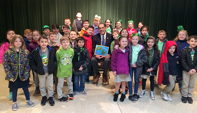 State Rep. Tim Sneller (D-Burton) visited with and read to students at Holy Family Catholic School in Grand Blanc for March is Reading Month, on March 15, 2019.