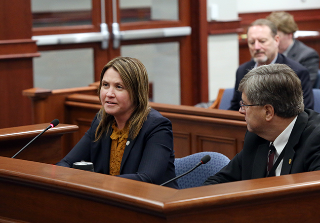 State Rep. Sara Cambensy (D-Marquette) testified on SR 150, a resolution to endorse continued investment in Michigan's Upper Peninsula by Cleveland-Cliffs Inc., in the Senate Committee on Natural Resources on Wednesday, April 18, 2018.
