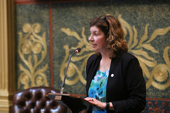 State Rep. Cara Clemente (D-Lincoln Park) speaks to her bill, HB 6043, part of a bipartisan package to combat sexual assault in Michigan, on Thursday, May24, 2018.