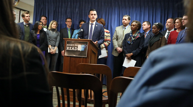 State Rep. Darrin Camilleri (D-Brownstown Twp.) introduced an amendment to the Michigan Constitution that would ensure students' fundamental right to read in the state of Michigan. Camilleri made the announcement at a press conference kicking off March is Reading Month on Thursday, March 2, 2017.