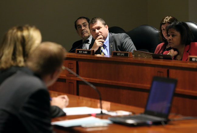 State Rep. Terry Sabo (D-Muskegon) listened to testimony on legislation that would allow unattended running vehicles on private property, in the House Transportation and Infrastructure Committee on Tuesday, March 7, 2017.