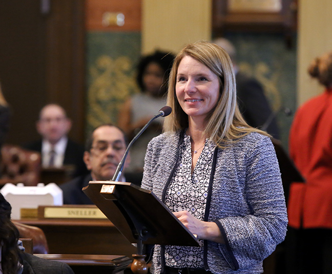 State Rep. Donna Lasinski (D-Scio Township) spoke to her resolution celebrating International Women's Day 2019 on Thursday, March 7.