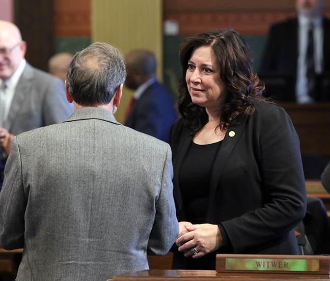 State Rep. Angela Witwer (D-Delta Township) on the House floor Tuesday, January 29, 2019.