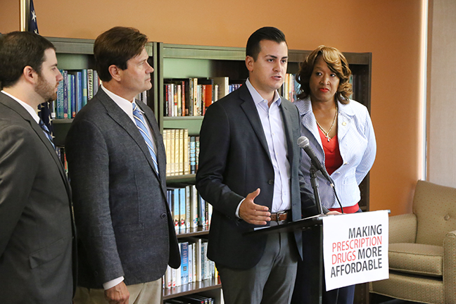 State Rep. Darrin Camilleri (D-Brownstown Twp.) joined State Rep. Jeremy Moss (D-Southfield), State Sen. Steven Bieda (D-Warren) and State Rep. Sherry Gay-Dagnogo (D-Detroit) to announce a Democratic plan to stop prescription drug price spikes in Michigan, at a press conference in Southfield on Monday, Aug. 21, 2017.