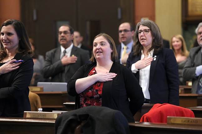State Rep. Lori Stone (D-Warren) takes the Pledge of Allegiance before session on Tuesday, January 29, 2019.