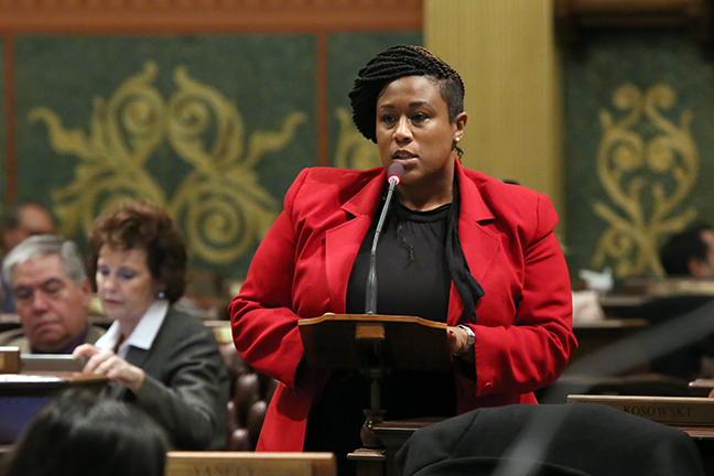 State Rep. Tenisha Yancey (D-Detroit) speaks on the House floor against Republican efforts to cut the minimum wage, on Tuesday, December 4, 2018.