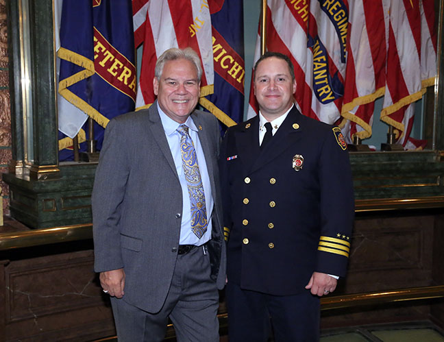 State Rep. Jim Ellison (D-Royal Oak) with Madison Heights Fire Marshall Paul Biliti at the Capitol for the 9/11 Memorial Service on Thursday, Sept 7, 2017.