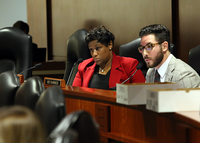 State Rep. Tenisha Yancey (D-Harper Woods) listens to testimony against Republican sponsored bills that would strip benefits -- including healthcare -- from retired police and firefighters across the state, in the House Committee on Michigan Competitiveness Tuesday, Dec. 5, 2017. In addition, the legislation threatens to send more emergency managers into communities to fund necessary services after years of revenue sharing cuts to local governments.