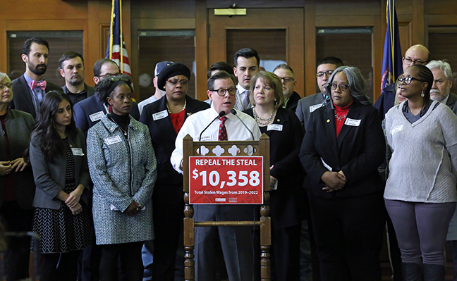 State Rep. Bill Sowerby (D-Clinton Township) joined House and Senate Democrats to hold a press conference calling for the repeal of a 2018 law that gutted a minimum wage increase for low-wage workers, Thursday, March 7, 2019. The Democrats' plan to Repeal the Steal would reinstate the minimum wage increase in the original One Fair Wage ballot initiative, as supported by the nearly 400,000 Michiganders who signed on to proposal. The initiative was passed by the legislative majority in September of last year, which kept the proposal off the November ballot, before the law was gutted by the Republican-led Legislature during lame duck.