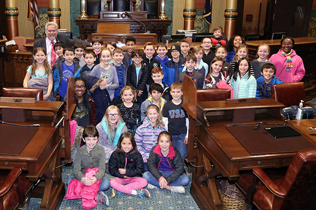 State Rep. Jim Ellison (D-Royal Oak) met with students from Northwood Elementary during their tour of the Capitol on Tuesday, Dec. 5, 2017.