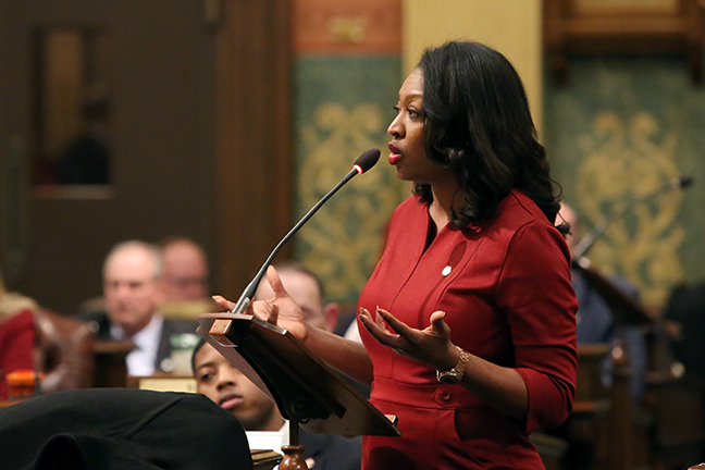 State Rep. Sarah Anthony (D-Lansing) speaks on the House floor against Republican efforts to cut the minimum wage, on Tuesday, December 4, 2018.