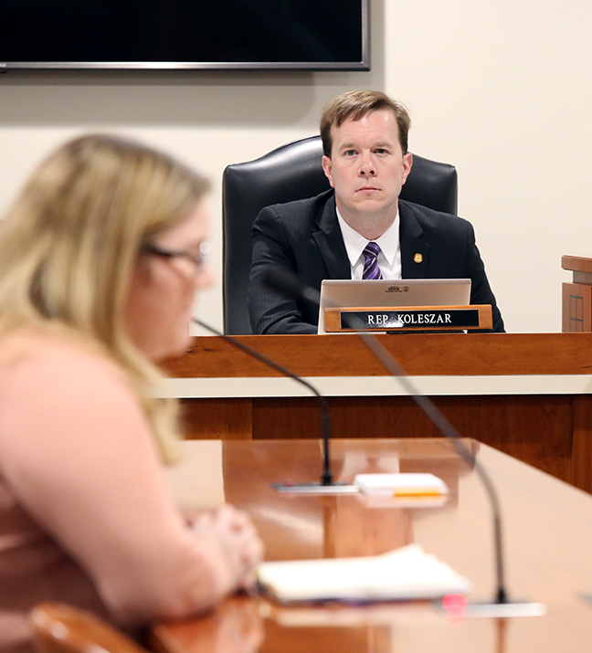 State Rep. Matt Koleszar (D-Plymouth) listens to testimony in the House Education Committee on Tuesday, March 12, 2019.