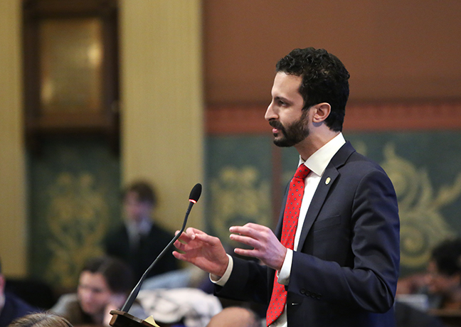 State Rep. Yousef Rabhi (D-Ann Arbor) speaks against House Bill 5456 — which would make it more difficult for those suffering from asbestos-related diseases to file claims against the corporations that poisoned them — on Thursday, Feb. 8, 2018.