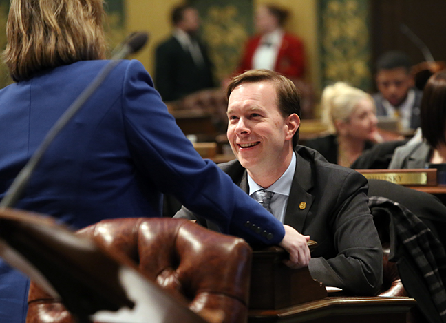 State Rep. Matt Koleszar (D-Plymouth) on the House floor Tuesday, February 5, 2019.