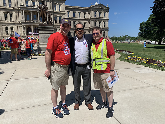 State Rep. Tim Sneller (D-Burton) attended the #RedforEd event at the state Capitol to show his support for public education and Michigan's hardworking teachers, on June 25, 2019.