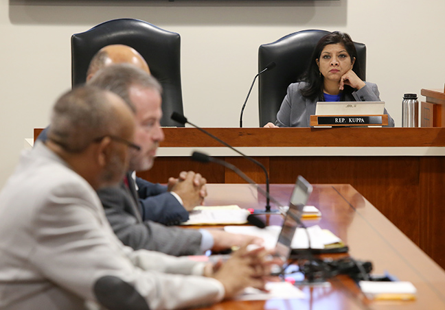State Rep. Padma Kuppa (D-Troy) listens to testimony in the House Local Government and Municipal Finance Committee on Wednesday, March 13, 2019.