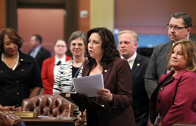 State Rep. Angela Witwer (Delta Township) introduced House Resolution 16 to commemorate the 100th anniversary of Michigan Farm Bureau on Feb 4, 2019. The resolution was adopted by the House.