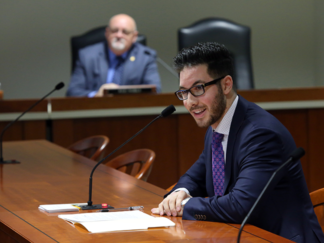 State Rep. Abdullah Hammoud (D-Dearborn) testified in the House Committee on Transportation and Infrastructure on HB 4480, which amend the Michigan Vehicle Code to specify that a person may not operate a motorcycle or moped equipped with handlebars that are higher than 30 inches, on Tuesday, Feb. 13, 2018.
