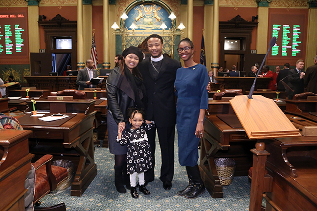 State Rep. Kyra Bolden (D-Southfield) hosted Codrigus Alexander of Christian Tabernacle Church and his family for the invocation on Wednesday, February 6, 2019.