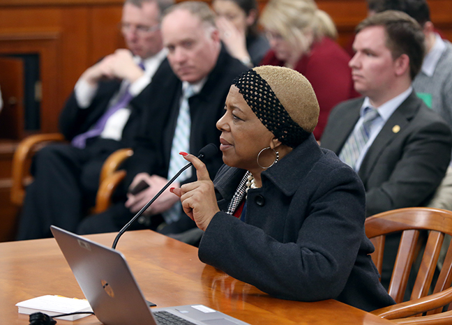 State Rep. Cynthia A. Johnson (D-Detroit) testifies in the House Government Operations Committee in response to legislative Republicans overturning Gov. Whitmer's executive order, allowing decision-making bodies within the DEQ to continue to be operated by industry, manufacturing and business interests, on Wednesday, February 6, 2019.