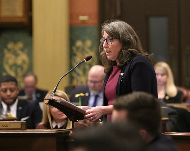 State Rep. Rachel Hood (D-Grand Rapids) speaks in response to legislative Republicans overturning Gov. Whitmer's executive order, allowing decision-making bodies within the DEQ to continue to be operated by industry, manufacturing and business interests, on Wednesday, February 6, 2019.