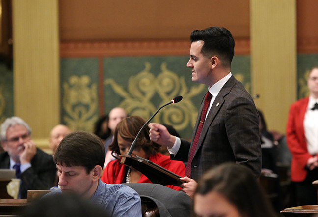 State Rep. Darrin Camilleri (D-Brownstown Township) speaks in response to legislative Republicans overturning Gov. Whitmer's executive order, allowing decision-making bodies within the DEQ to continue to be operated by industry, manufacturing and business interests, on Wednesday, February 6, 2019.