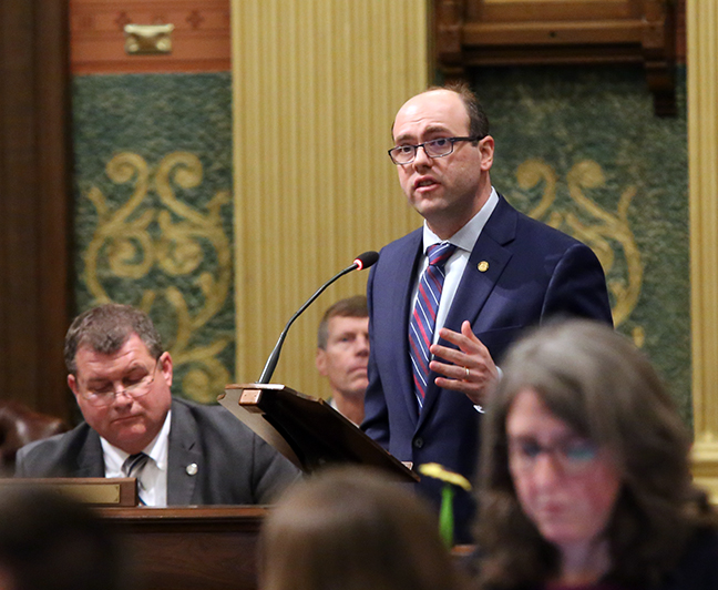 State Rep. John D. Cherry (D-Flint) speaks in response to legislative Republicans overturning Gov. Whitmer's executive order, allowing decision-making bodies within the DEQ to continue to be operated by industry, manufacturing and business interests, on Wednesday, February 6, 2019.