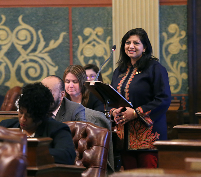 State Rep. Padma Kuppa (D-Troy) speaks to House Bills 4007-4013 and 4015-4016 which were passed unanimously by the House on Tuesday, March 19, 2019. The bipartisan package, which aims to increase accountability and address Michigan's last-in-the-nation ranking for transparency in government, will open the governor's office up to the Freedom of Information Act and subject the Legislature to a new Legislative Open Records Act.
