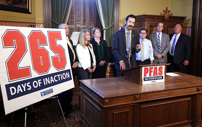 State Rep. Yousef Rabhi (D-Ann Arbor) and fellow Democratic lawmakers called on the Legislature to take immediate action to strengthen PFAS water quality standards by passing legislation introduced in December of last year by state Rep. Winnie Brinks (D-Grand Rapids), in a Capitol press conference on Tuesday, September 4, 2018. Since PFAS was first discovered in private Michigan wells last year, 16 out of 83 counties have identified contaminated sites, with thousands of additional sites still being tested.