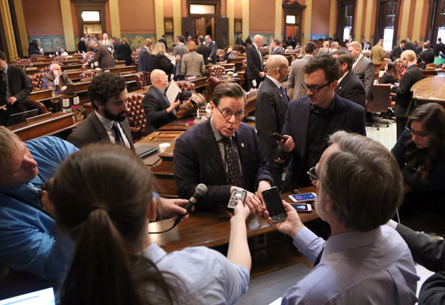State Rep. William Sowerby (D-Clinton Township) spoke to the press after the Michigan House overwhelmingly approved a funding bill urgently needed to address health and safety issues related to the Macomb County sinkhole emergency, on Wednesday, March 22, 2017.