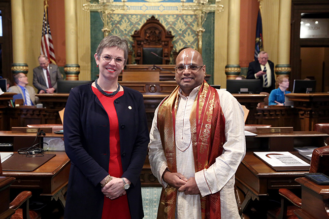 State Rep. Julie Brixie (D-Meridian Township) welcomed Priest Panditji Srihari Kadambi, from Bharatiya Temple of Lansing, for the invocation in the House Tuesday, February 19, 2019.