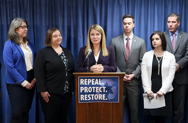 "State Rep. Donna Lasinski (D-Scio Towsnhip) spoke at a press conference alongside House Democratic colleagues and statewide stakeholders introducing legislation to restore the state's ability to address the many public health and environment crises Michigan families are facing, Tuesday, March 19, 2019. House Bill 4386 would repeal the so called ""no stricter than federal"" law, passed in the final few days of lame duck during the 2017-18 term, which prohibits state agencies from issuing rules or guidelines more stringent than the relevant federal standard."