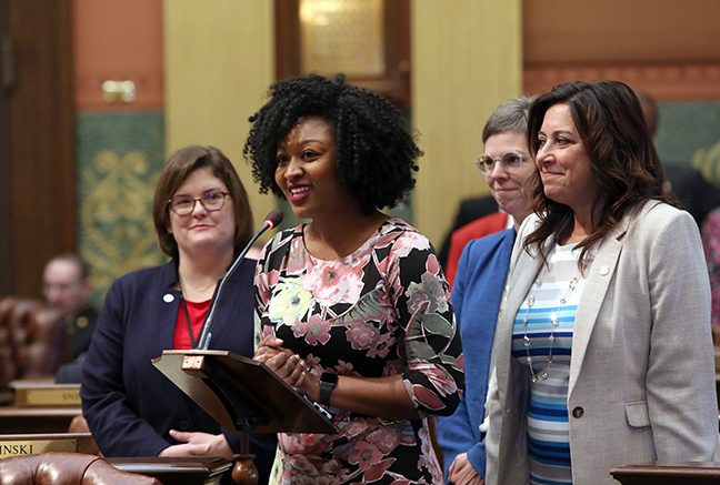 State Rep. Sarah Anthony (D-Lansing), accompanied by Representatives Kara Hope (D-Holt), Julie Brixie (D-East Lansing) and Angela Witwer (D-Delta Township), spoke to a resolution commemorating the 160th anniversary of the founding of the city of Lansing, on Thursday, May 16, 2019.