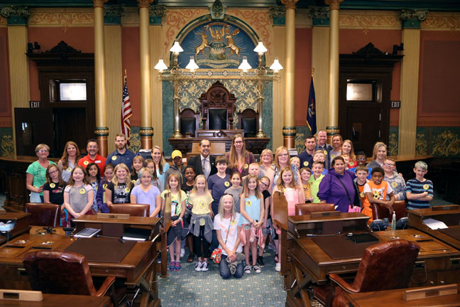 State Rep. Tim Sneller (D-Burton) welcomed to the House floor students and parents from Morrish Elementary during their tour of the Capitol on Wednesday, June 7, 2017.
