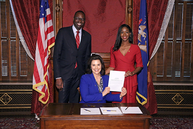 State Rep. Kyra Bolden (D-Southfield) joined Gov. Gretchen Whitmer and Lt. Gov. Garlin Gilchrist for the signing of HB 4132 at the Capitol in Lansing on May 22, 2019. House Bills 4129-32 reform the parole procedure for medically frail, non-violent inmates with a permanent physical disability or serious medical condition. Over recent years, the Michigan Department of Corrections budget has soared above $2 billion, largely due to costs associated with providing long-term medical care. This package will offer limited opportunities for individuals to receive care in a proper medical facility, refocusing the state's priorities on rehabilitation and criminal justice reform while decreasing costs to taxpayers.