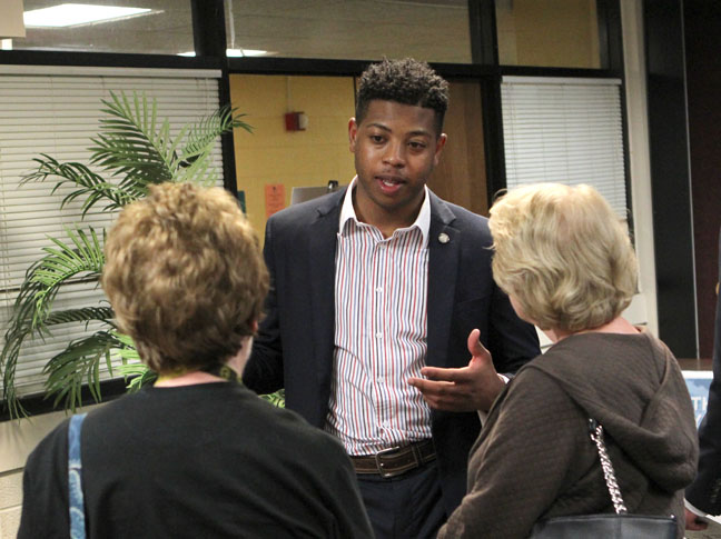 State Rep. Jewell Jones (D-Inkster) speaks with constituents following a town hall meeting on Monday, April 24, 2017, at the Maplewood Community Center in Garden City.