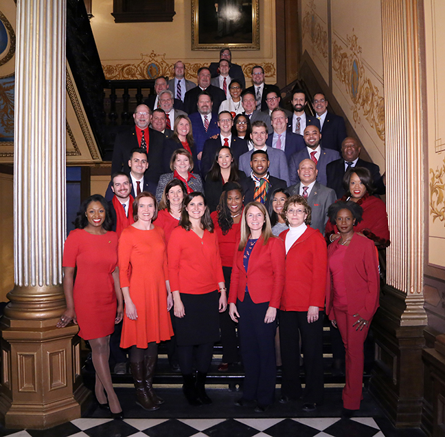 Democratic state Representatives wore red to show their support for public education as Republicans passed legislation requiring A-F ranking of schools on Wednesday, December 12, 2018.
