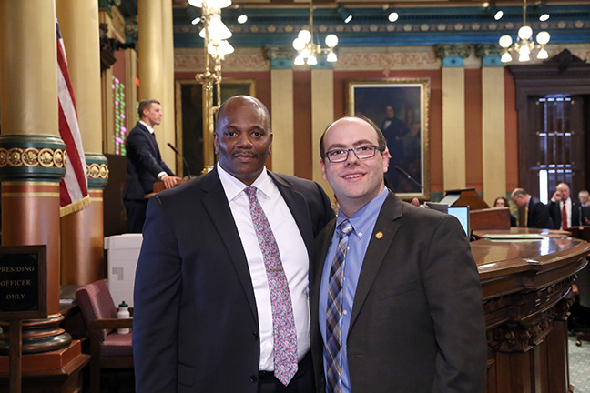 State Rep. John Cherry (D-Flint) welcomed Pastor Gregory Timmons of Calvary United Methodist Church in Flint for the invocation on Wednesday, February 13, 2019.