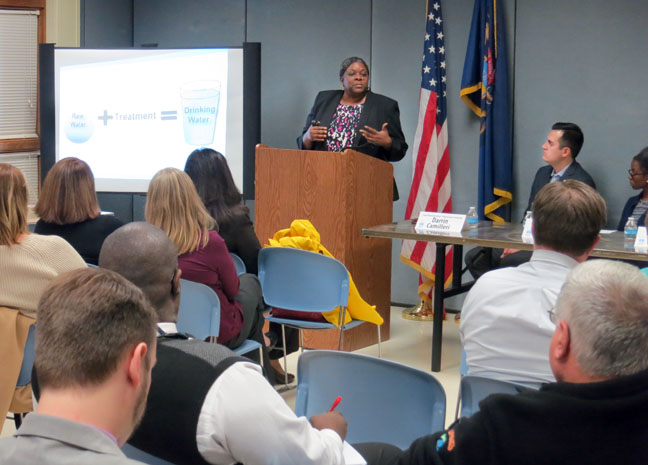 Cheryl Porter, COO of Great Lakes Water Authority, presented at the Downriver Water Community Meeting hosted by State Rep. Darrin Camilleri (D-Brownstown Twp.) at the Brownstown Community Center on Monday, Feb. 13, 2017.