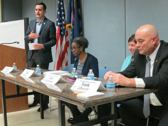 State Rep. Darrin Camilleri (D-Brownstown Twp.) hosted a Downriver Water Community Meeting with fellow Reps. Erika Geiss (D-Taylor), Cara Clemente (D-Lincoln Park) and Frank Liberati (D-Allen Park) at the Brownstown Community Center on Monday, Feb. 13, 2017.