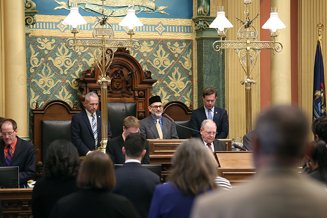State Rep. Matt Koleszar (D-Plymouth) welcomed Imam Nadeem Siddiqui, from the Muslim Community of the Western Suburbs in Canton, for the invocation on Tuesday, April 9, 2019.