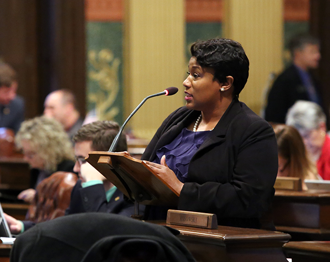 State Rep. Tenisha Yancey (D-Detroit) speaks against an attempt to strip the city of Detroit of one of its 30 district court judges, on Thursday, Jan. 11, 2018. Senate Bill 525 reflects the July 2017 Judicial Resource Recommendations (JRR) to eliminate judgeships from the 36th District Court. The Detroit Caucus stood adamantly opposed to this legislation since its introduction, citing the city's dire need for maintaining its 30 judgeships.