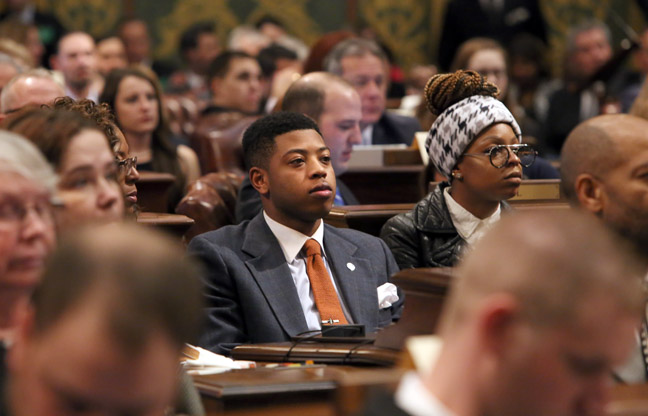 Newly-elected State Rep. Jewell Jones (D-Inkster) on the first day of session Wednesday, Jan. 11, 2017.