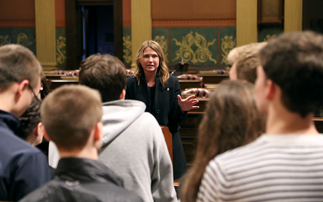 State Rep. Sara Cambensy (D-Marquette) welcomed the Marquette Senior High School AP Government class to the House floor during their tour of the Capitol on Thursday, January 11, 2018.